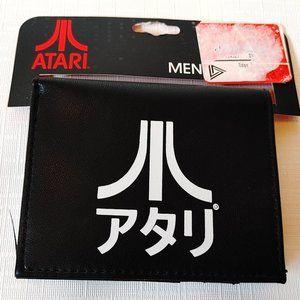 New Atari Black Kanji Katakana Bifold Mens Wallet